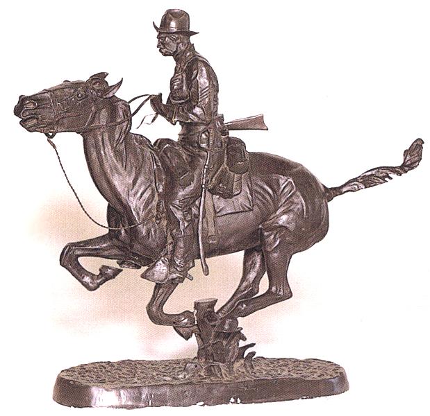 Bronze Remington Trooper Plains Statue - ASB 005