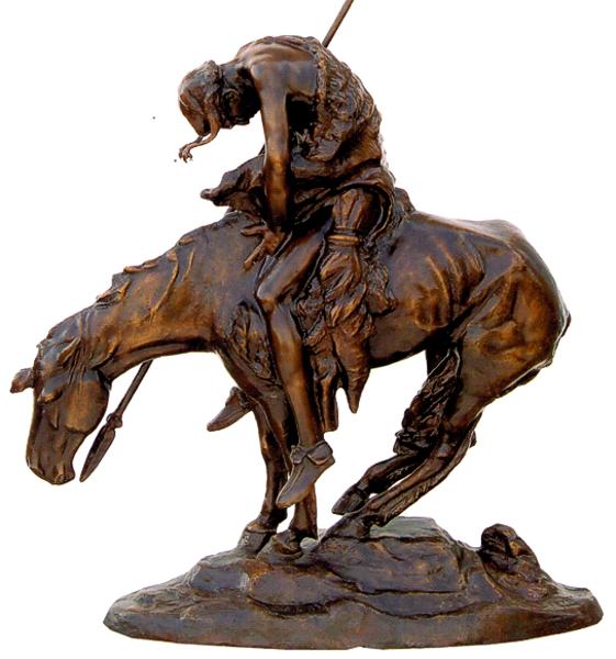Bronze Remington End Trail Statue - ASB 039