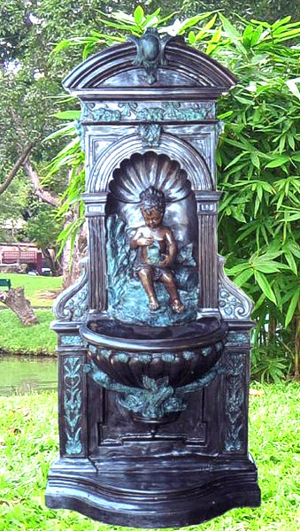 Bronze Cherub Wall Fountain - BB 103-23