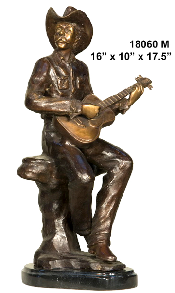 Bronze Cowboy Playing Guitar Statue - AF 18060M