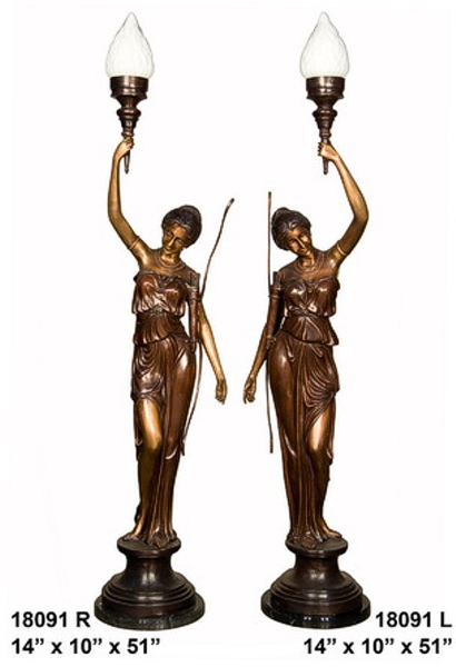 Bronze Ladies Torchieres - AF 18091