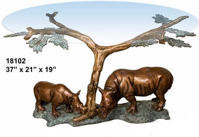 Bronze Rhinoceros Table - AF 18102