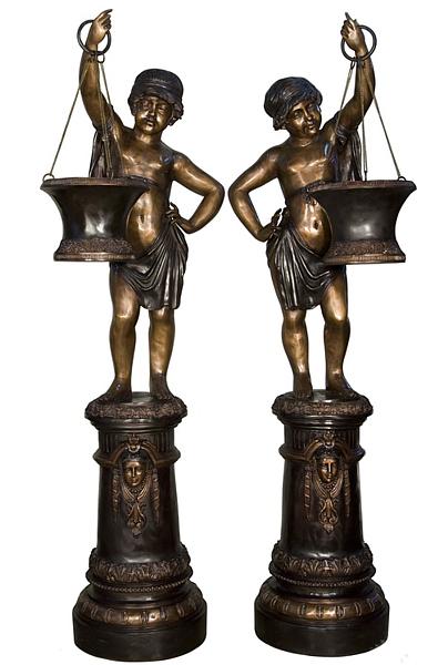 Bronze Boys Planter Statues - AF 18116-18TT