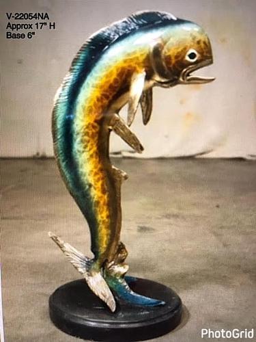 Bronze Jumping Dorado Statue - AF 22094NA