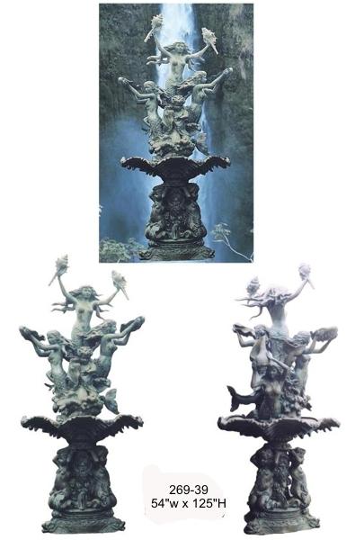 Bronze Mermaid Fountains | Bronze Mermaid Statues - BB 269-39