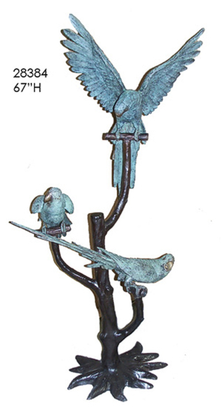 Bronze Parrots in Tree Statue - AF 28384