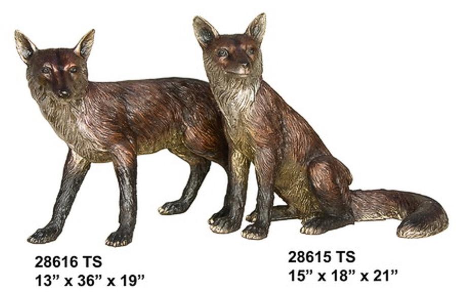 Bronze Fox Statue - AF 28615-6