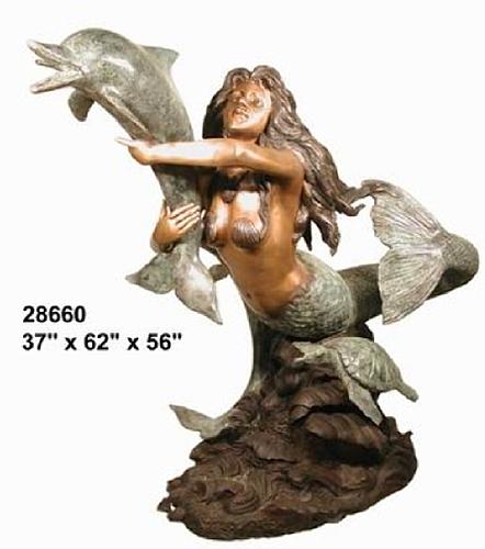 Bronze Mermaid Fountains - AF 28660