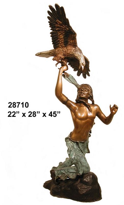 Bronze Indian Warrior Eagle Statue - AF 28710