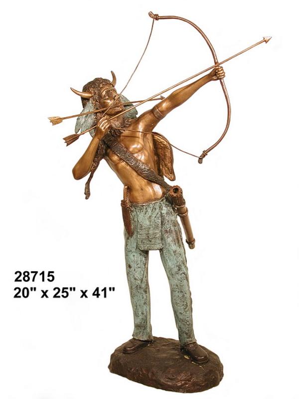 Bronze Indian Warrior Bow Statue - AF 28715