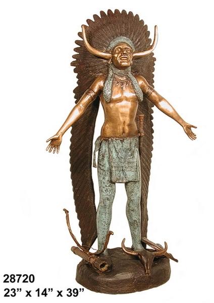 Bronze Indian Medicine Man Statue - AF 28720