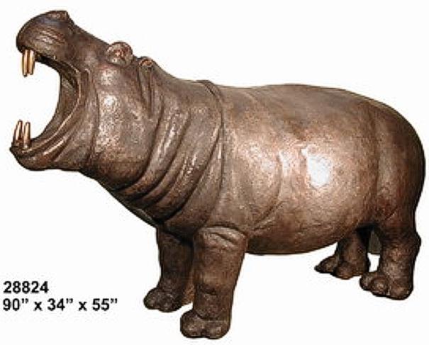 Bronze Hippopotamus Statue - AF 28824