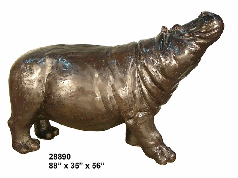Bronze Hippopotamus Statue - AF 28890