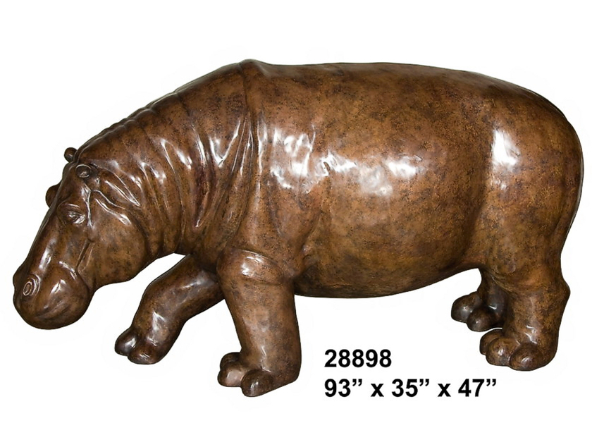 Bronze Hippopotamus Statue - AF 28898