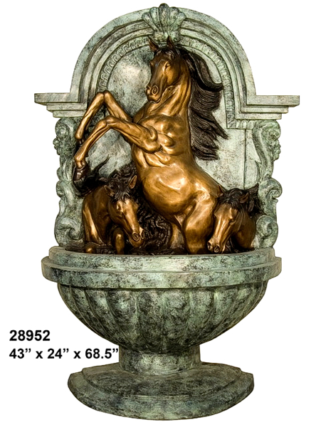 Bronze Horse Wall Fountain - AF 28952G