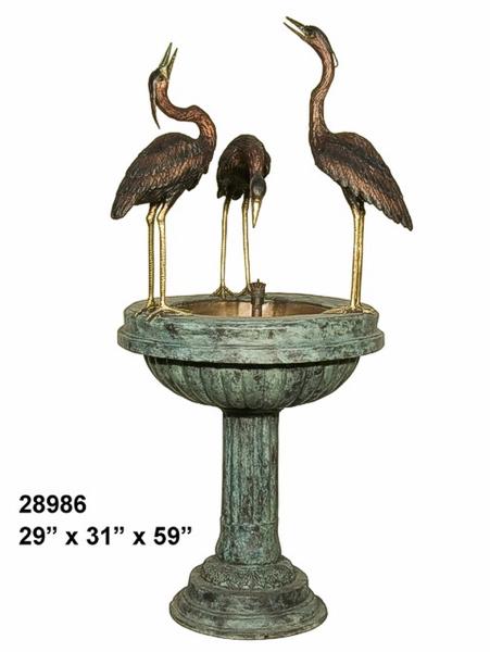 Bronze Crane Fountains - AF 28986
