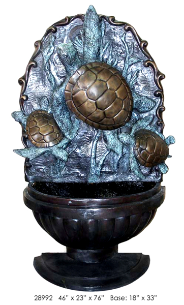 Bronze Turtle Wall Fountain - AF 28992
