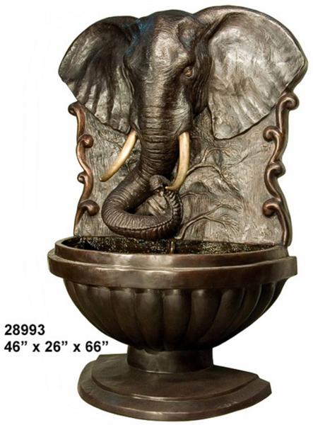 Bronze Elephant Wall Fountain - AF 28993