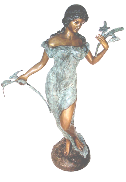 Bronze Lady Flower Fountain - AF 29380