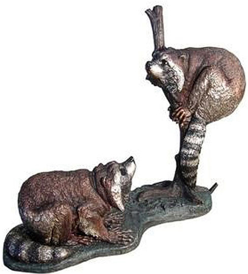 Bronze Raccoons Fountain - AF 29456