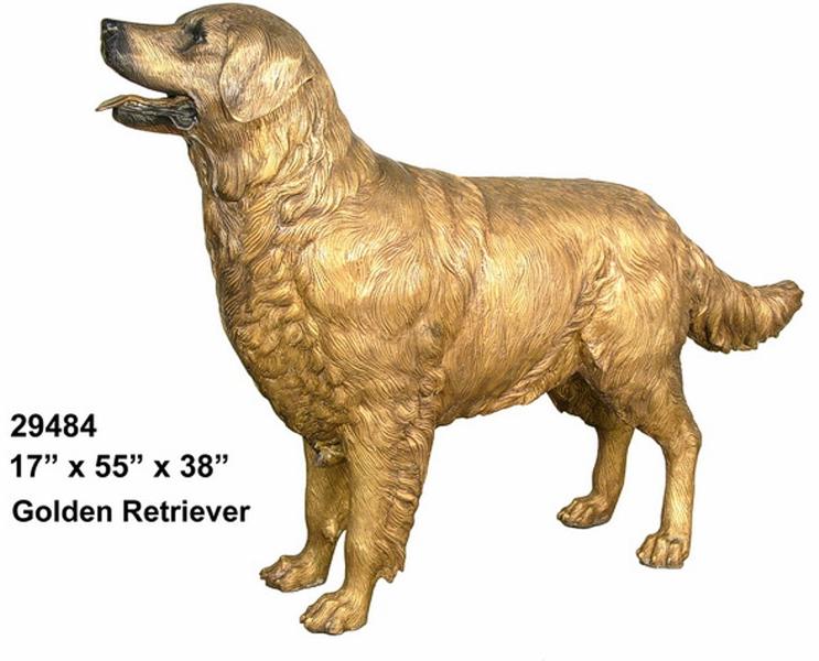 Bronze Dog Golden Retriever Statue - AF 29484