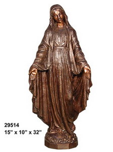 Bronze Virgin Mary Statue - AF 29514