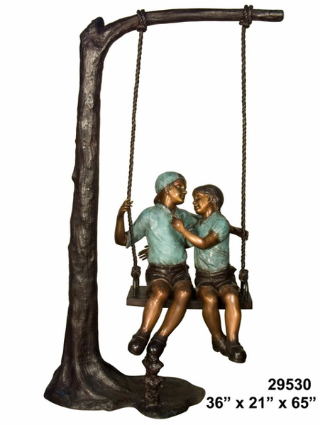 Bronze Young Sweethearts on Swing Statue - AF 29530