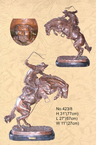 Frederic Remington Bronze Bronco Buster Statue - BB 423/8