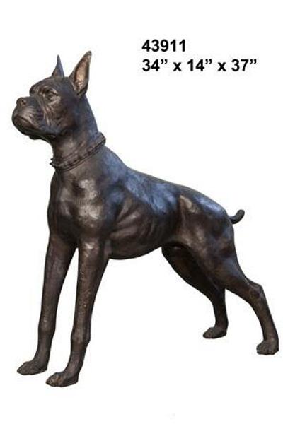 Bronze Boxer Dog Statue - AF 43911