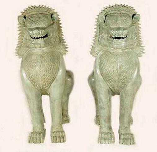 Bronze Foo Dog Statue - AF 45953