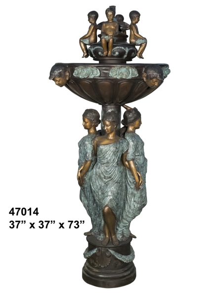 Bronze Mother & Children Fountain - AF 47014