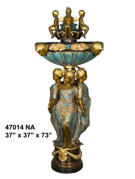 Bronze Ladies & Children Fountain - AF 47014NA