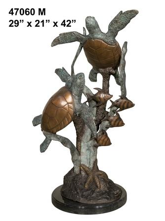 Bronze Turtle & Fish Sculpture - AF 47060M