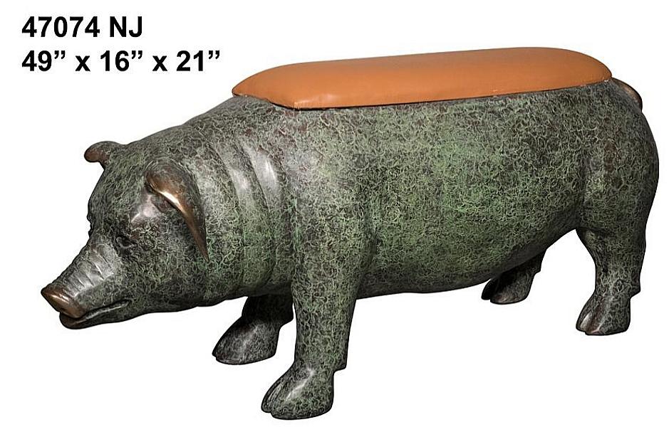 Bronze Pig Bench - AF 47074 NJ