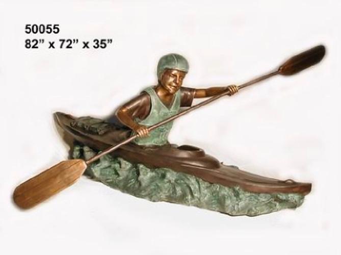 Bronze Boy in Canoe Statue - AF 50055