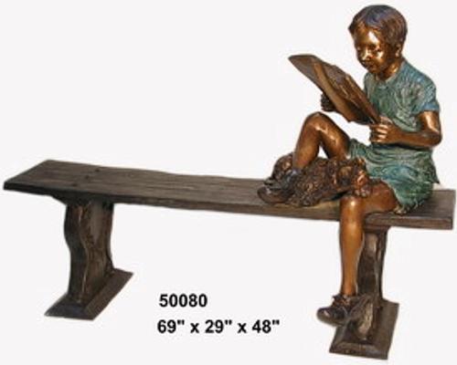 Bronze Child Bench Reading - AF 50080