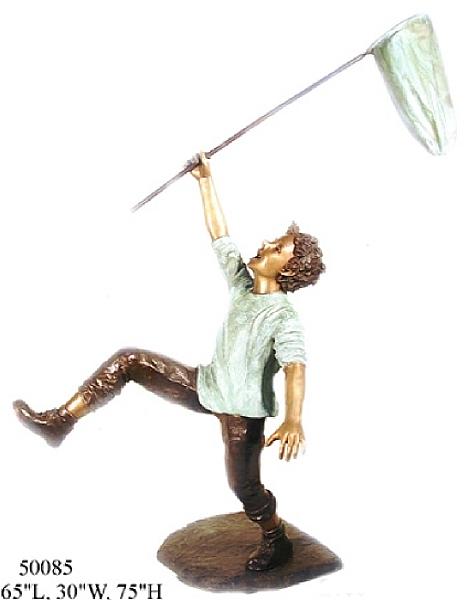 Bronze Boy with net Statue - AF 50085