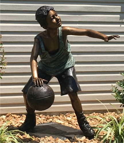 Bronze Boy Basketball Player Statue - AF 50120B