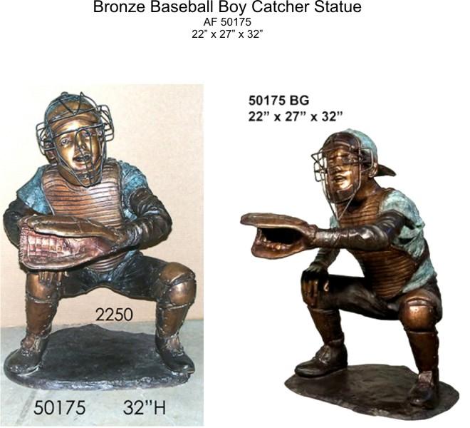 Bronze Baseball Catcher Statue - AF 50175