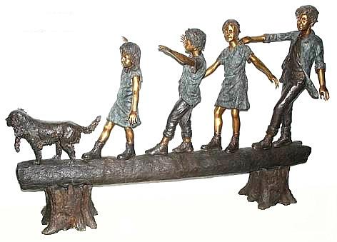 Bronze Kids Tree Log Statue - AF 50195