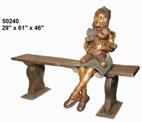 Bronze Child on Bench - AF 50240
