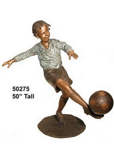 Bronze Boy Soccer Player Statue - AF 50275