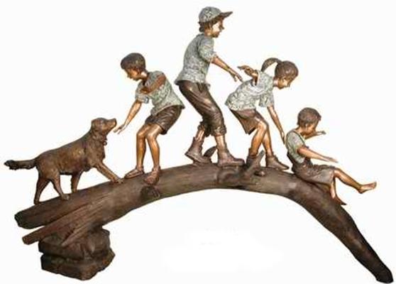 Bronze Kids Tree Log Statue - AF 50290
