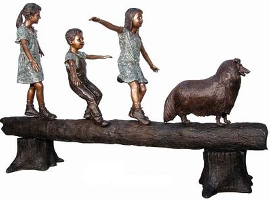 Bronze Kids Tree Log Statue - AF 50406