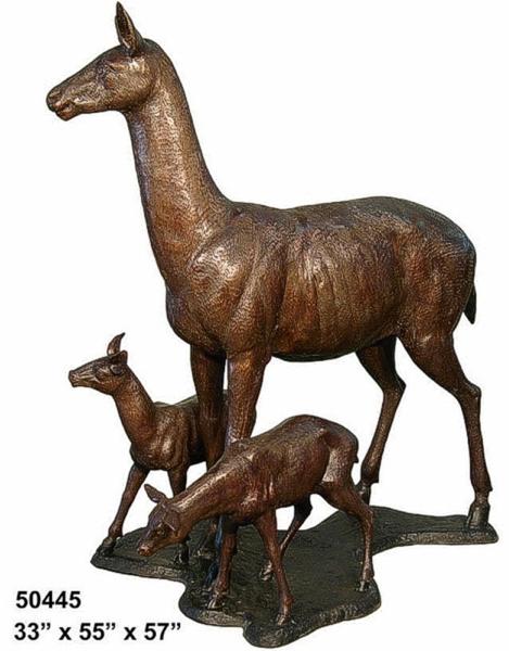 Bronze Doe & Fawn Statues - AF 50445