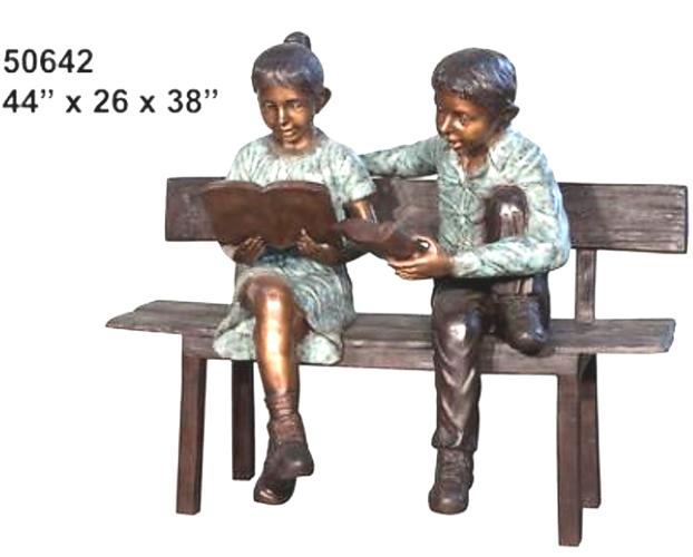 Bronze Children Bench Reading - AF 50642