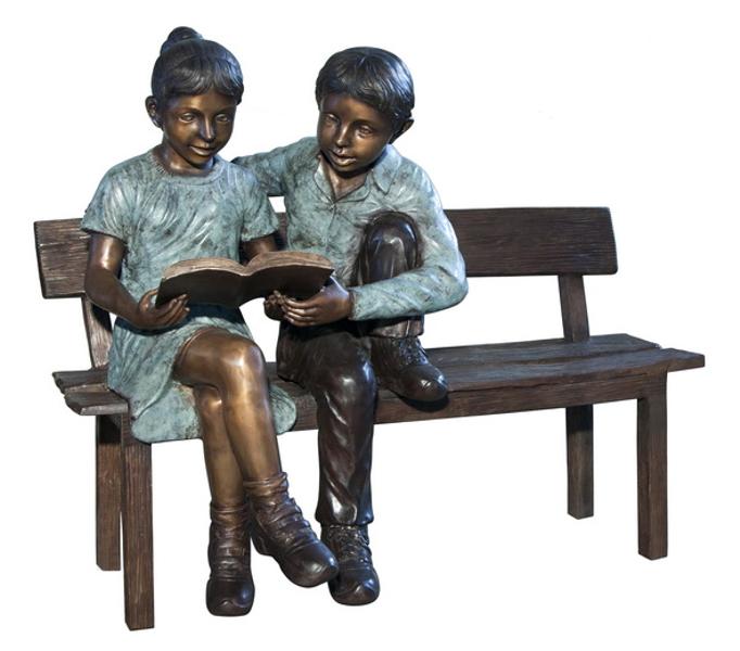 Bronze Children Bench Reading - AF 50643