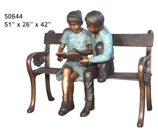 Bronze Children Bench Reading - AF 50644