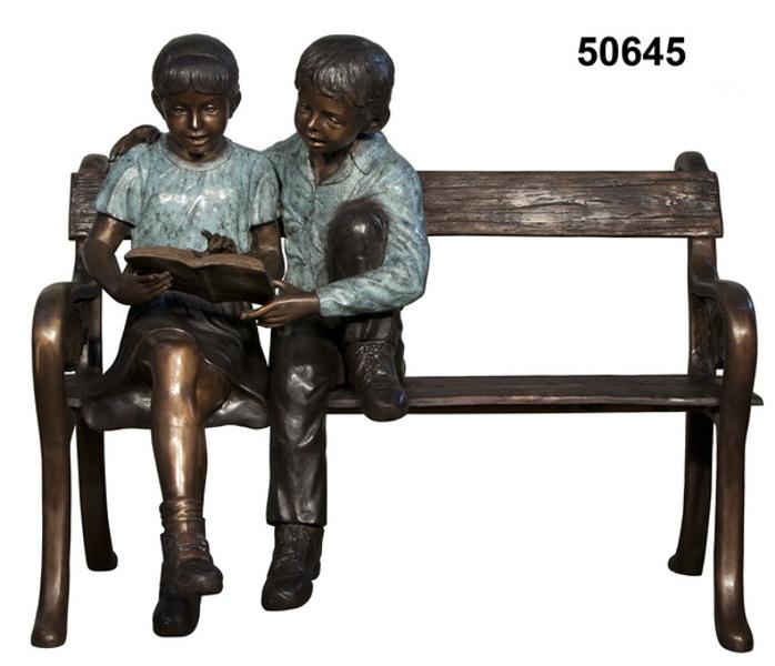 Bronze Children Bench Reading - AF 50645