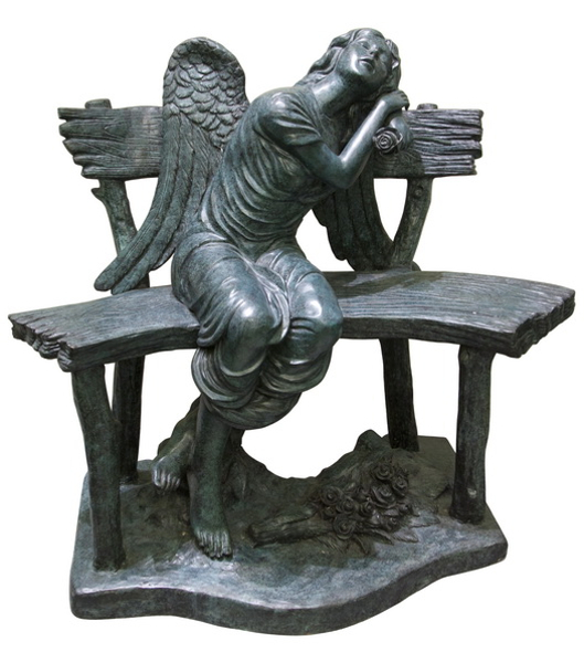 Bronze Angel on Bench - AF 50652
